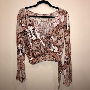 Free People Fiona Paisley Print Wrap Top